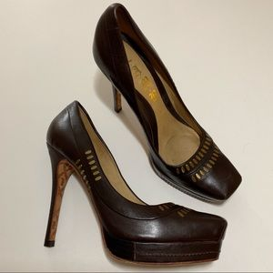 L.A.M.B. Jona Brown Leather Heels